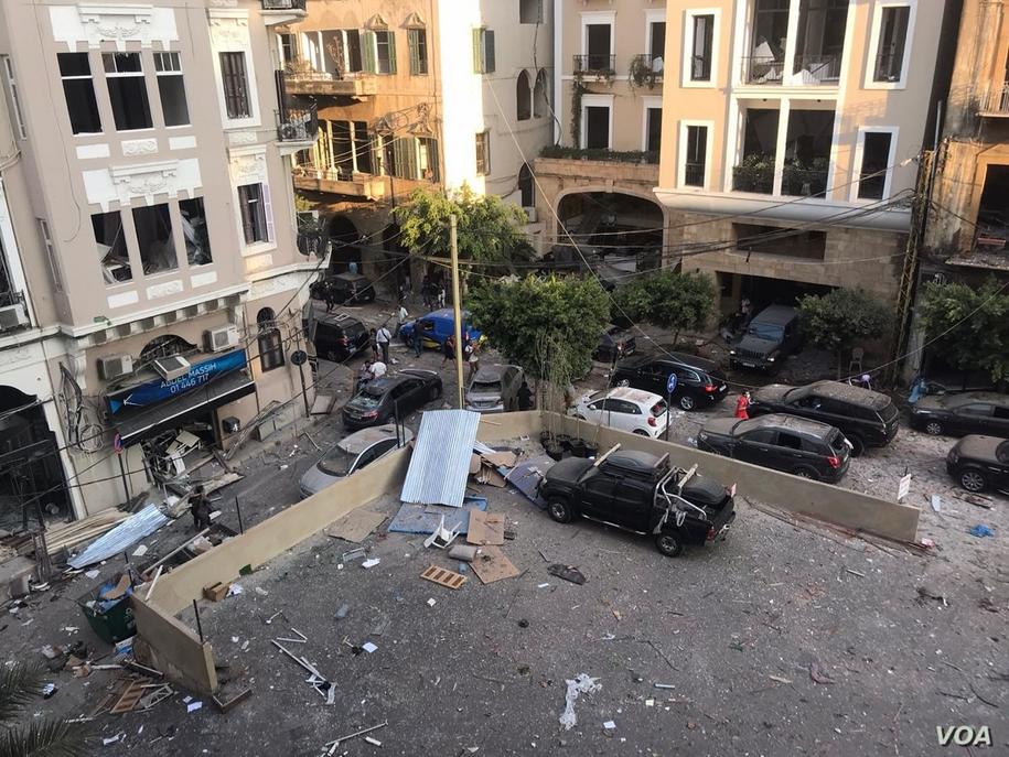 Beirut nach der Explosion am 4. August 2020 (Foto: VOA)